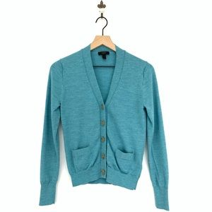 J.Crew Merino Wool V-neck Cardigan Sweater Teal
